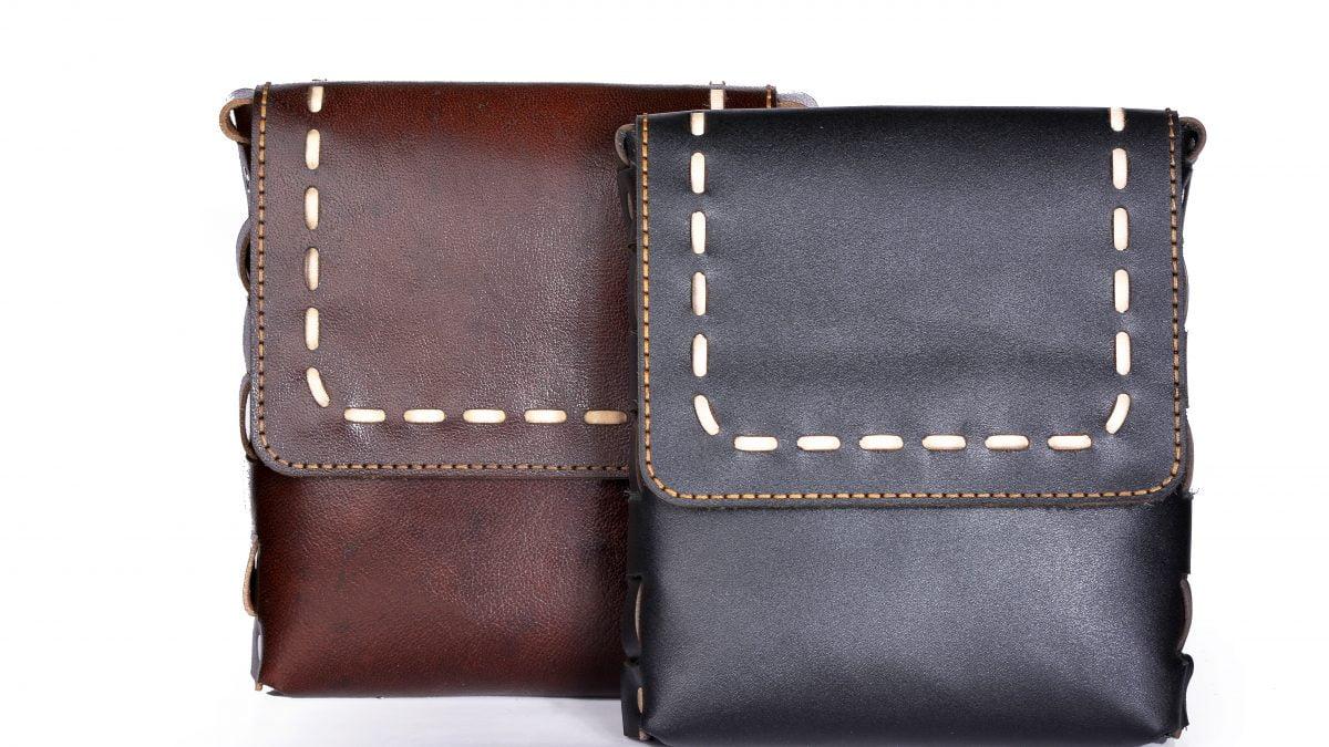 آموزش کیف پستچی دست دوز چرم طبیعی کد C-258